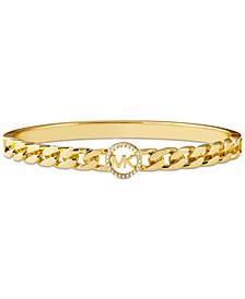 Gold-Tone Sterling Silver Cubic Zirconia Logo Link Bangle Bracelet