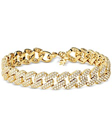 Gold-Tone Sterling Silver Cubic Zirconia Link Statement Bracelet