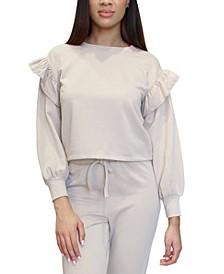 Juniors' Ruffle-Trimmed Fleece Sweatshirt