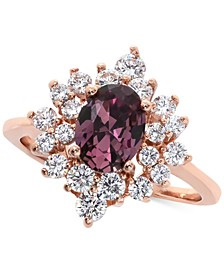 Rose Gold-Tone Crystal Oval Starburst Statement Ring, Created for Macy's