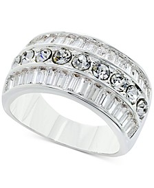 Fine Silver Plate Crystal Triple-Row Ring, Created for Macy's