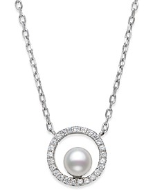 "Cultured Freshwater Pearl (5mm) & Cubic Zirconia Circle Pendant Necklace in Sterling Silver, 16"" + 2"" extender, Created for Macy's"