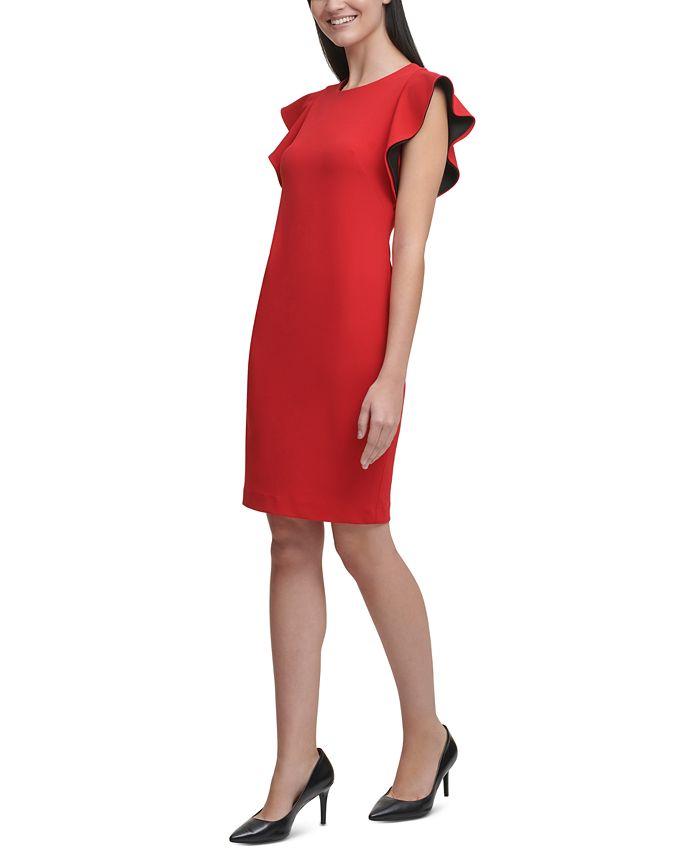 Calvin Klein - Ruffle-Sleeve Sheath Dress