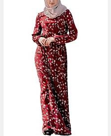 Women's Black Cherry Drawstring Maxi Dress