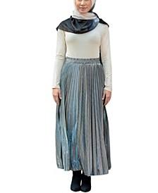 Women's Metallic Pleated Midi Skirt