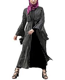 Women's Striped Ruffle Maxi Cardigan