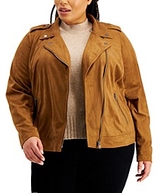 Plus Size Faux-Suede Moto Jacket, Created for Macy's