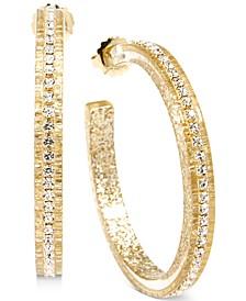 """Medium Crystal-Embellished Colored Open Hoop Earrings, 2"""""""