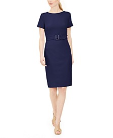 Short-Sleeve Belted Sheath Dress