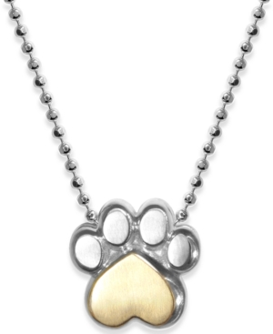 """Paw 16"""" Pendant Necklace in Sterling Silver & 18k Gold-Plate"""