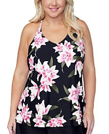 Plus Size Racer Back Underwire Tankini Top, Created for Macys