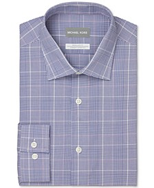 Men's Regular-Fit Non-Iron Stretch Performance Blue Plaid Dress Shirt