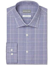 Michael Kors Men's Regular-Fit Non-Iron Stretch Performance Blue Plaid Dress Shirt