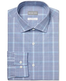 Men's Slim-Fit Non-Iron Stretch Performance Slate Blue Dress Shirt