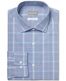 Michael Kors Men's Slim-Fit Non-Iron Stretch Performance Slate Blue Dress Shirt