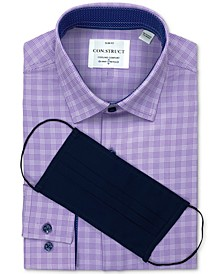 Receive a FREE Face Mask with purchase of the Con.Struct Men's Slim-Fit White/Purple Houndstooth Dress Shirt, Created for Macy's