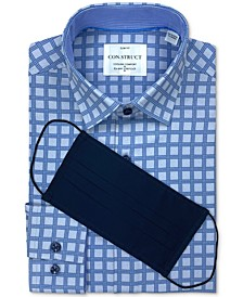 Receive a FREE Face Mask with purchase of the Con.Struct Men's Slim-Fit Blue Check Dress Shirt, Created for Macy's