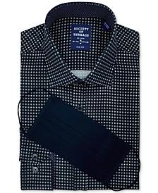 Men's Slim-Fit Non-Iron Performance Stretch Black Geo-Print Dress Shirt and Mask