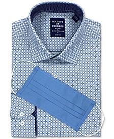 Men's Slim-Fit Non-Iron Performance Stretch White/Blue Box Dress Shirt and Mask