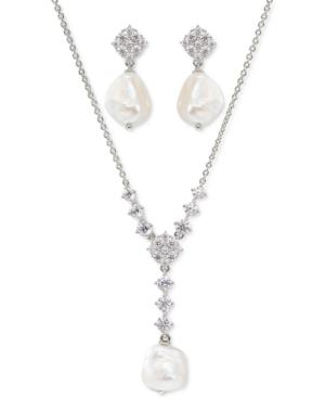 Cubic Zirconia & Imitation Pearl Lariat Necklace & Drop Earrings Set