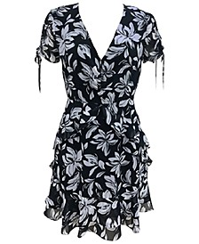 Floral-Print Surplice Mini Dress, Created for Macy's