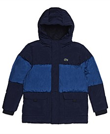 Big Boys Long Sleeve Full-Zip Color block Hooded Puffer Parka Jacket