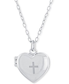 """Heart Cross Locket Pendant Necklace, 16"""" + 4"""" extender, Created for Macy's"""
