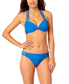 Juniors' Strappy Push-Up Bikini Top & Hipster Bikini Bottoms, Created for Macy's