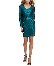 Metallic Side-Ruched Dress