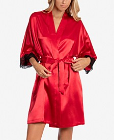Genevie Lace-Trim Satin Wrap Robe