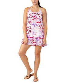 Juniors' Printed Tiered Pom-Pom Cover-Up, Created for Macy's