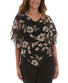 Juniors' Printed Sheer-Flutter-Overlay Top