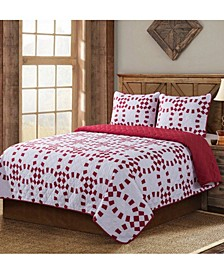 Holiday Ring Quilt 3 Piece Set, Full/Queen