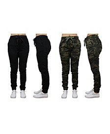 Women's Loose Fit Twill Cotton Stretch Moto Jogger - 2 Pack
