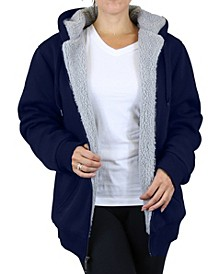 Women's Loose Fit Sherpa Lined Fleece Zip-up Hoodie