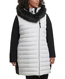 Plus Size Hooded Sweater-Sleeve Jacket