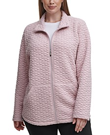 Plus Size Full-Zip Textured Jacket