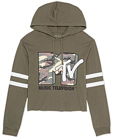 Juniors' Cropped MTV-Graphic Hoodie