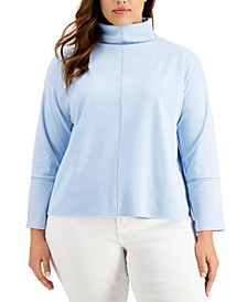 Plus Size Seamed Mock-Neck Top, Created for Macy's