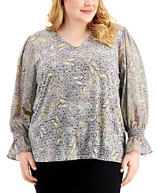 Plus Size Printed Flare-Sleeve Top