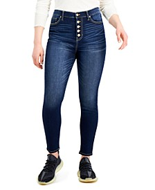 Juniors' High-Rise Curvy Button-Fly Skinny Jeans