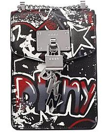 Elissa Graffiti Logo Pebble Leather Charm Crossbody, Created for Macy's