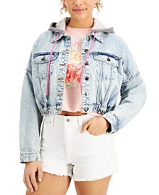 Juniors' Cotton Hooded Denim Jacket