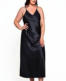 Women's Plus Size Long Satin Lingerie Slip with Deep V Back