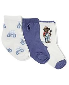 Ralph Lauren Layette Boys Farmer Bear Crew Socks 3-Pair