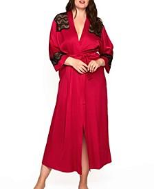 Women's Plus Size Luxury Long Robe Trimmed in Lace