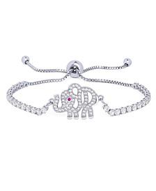 Cubic Zirconia Elephant Adjustable Bolo Bracelet in Fine Silver Plate