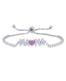 "Cubic Zirconia MAMA"" Adjustable Bolo Bracelet in Fine Silver Plate"