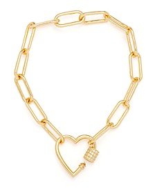 Cubic Zirconia Heart Bracelet in Gold-Plate