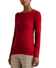 Plus-Size Cotton-Blend Long-Sleeve Top